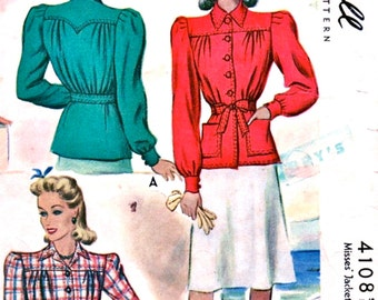 1940s  McCall Pattern 4108 **  HIGH FASHION  Misses' Jackets **   Size 14 Bust 32