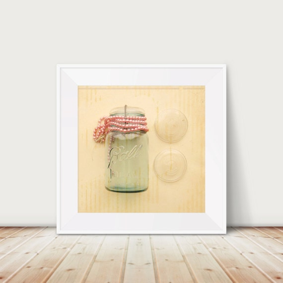 All Dressed Up Fine Art Print--Vintage Ball Jar and Pink Beaded Necklace Photograph Mason Jar Shabby Chic Antique Pastel Home Decor