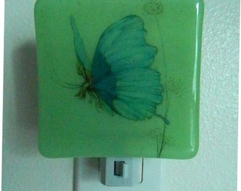 Fused Glass Night Light, Butterfly Riding, Series by Warwick Goble 10