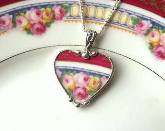 Broken china jewelry heart pendant necklace antique pink yellow roses made from a broken plate