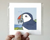Puffin with Fish Print, 5x5 Illustration
