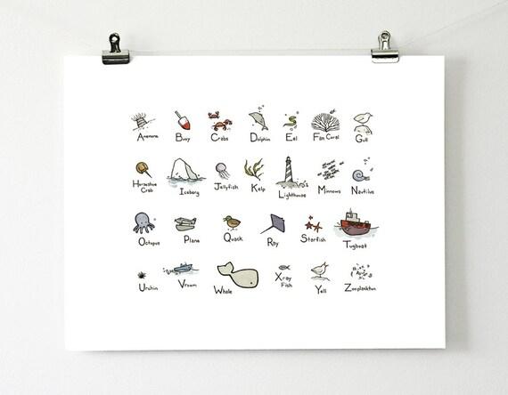 Illustrated Alphabet - Ocean Theme 11x14