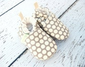 SALE Organic Vegan Grey Dots / All Fabric Soft Sole Baby Shoes / Made to Order / Babies