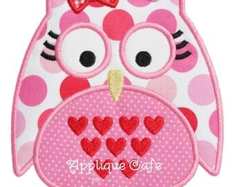 725 Girl Valentine Owl Machine Embroidery Applique Design
