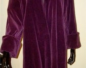 Vintage velvet coat 1940's 50's purple Hollywood diva starlet opera long plum