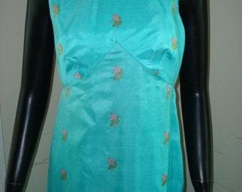 silk sari gown dress vintage TINA LESER original aqua embroidered embellished