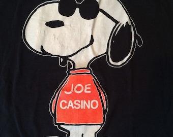 Vintage Snoopy T-Shirt Joe Casino Big Graphic 1971 Cool Black Xl