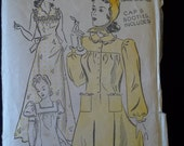 Vintage 1940's New York Sew Pattern # 1366 Robe Gown Hat slippers Bust 36