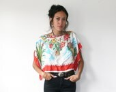 Rose Shirt / Cacti Scarf Top / Vintage Souvenir Mexico Shirt