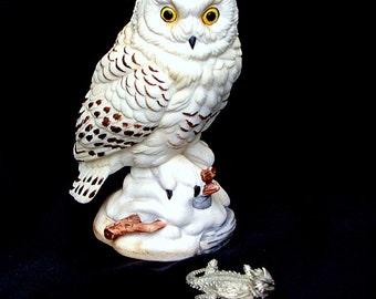 Snowy Owl Figurine, Andrea by Sadek Raptor Bird Vintage Animal Collectible