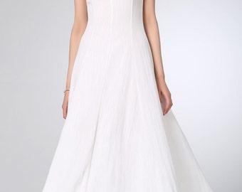 White dress, linen dress, maxi dress, womens dresses, maxi dress, summer dress, wedding dress, sleeveless dress, bridesmaid dress  (1232)