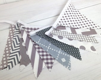 Bunting Banner, Photo Prop, Fabric Flags, Nautical Nursery Decor, Baby, Gender Neutral, Garland, Pennant - Gray, Grey, Chevron, Dots