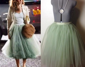 Carrie Bradshaw Tutu Tulle Skirt, Knee length/Midi in Sage/Olive Green – Inspired by the iconic Sex and the City character