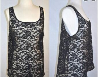 Black Stretch Lace Sheer FLoral Tank Top xs-xxl
