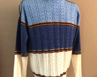 Vintage Men's 80's Striped Sweater, Blue, Cream, Acrylic, Long Sleeve by Campus (XL)