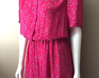 Vintage Women's 80's Dress, Fuchsia, Printed, Short Sleeve by JT Dress (M)