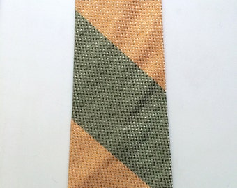 Vintage Neckties Men's 50's Green, Peach, Striped, Printed, Tie