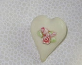 Heart Pin with Miniature Roses  Handmade Shabby Chic Love   Vintage Cottage Style