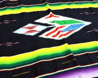 Lovely Rare Vintage Handwoven Mexican Blanket Throw - Serape Saltillo Rug Blanket