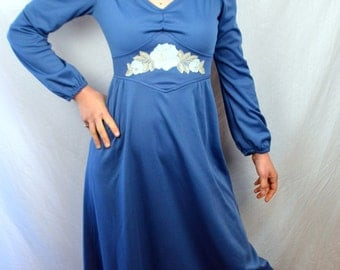 Vintage 1960s Blue Lace Maxi Dress - By Lynda Ann California