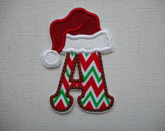 Free Shipping Christmas Santa Hat alpha  Fabric Iron on Applique
