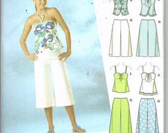 Uncut, Jr Misses Size 5/6 to 15/16, Sewing Pattern, Simplicity 4150, It's Easy, Teen, Woman, Top, Tunic, Halter, Capri Pants, Shorts, City