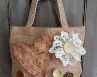 Small BURLAP Tote with lace Flower, Primitive Heart and Vintage Buttons RDT OFG
