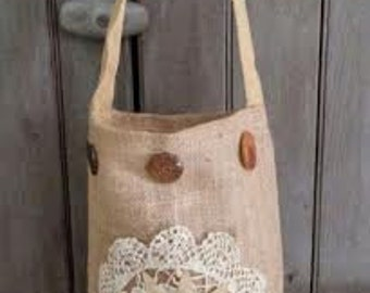 Tall BURLAP Tote with Primitive Flower, Crocheted Doily, Vintage Buttons, RDT OFG