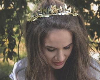 Gold Wedding Tiara | Romantic Greek Head Piece | Gift for Her | Handmade Bridal Wreath | Head Jewelry for Bride | Wedding Crown