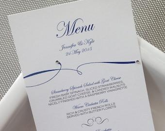 Custom Dinner (Set of50)/ Reception Menu/ModernWeding Menu/ Flourish Gem Menu