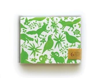 Otomi - set of 6 letterpress cards