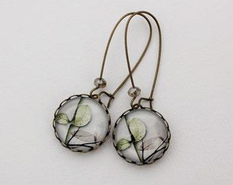 Fresh Modern Leaves Earrings. Gray. Soft Green. White. Gift for her under 25 usd