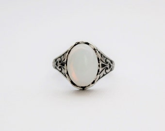 White Opal Ring in Antique Silver or Antique Brass. Vintage Jewel. October Birthstone