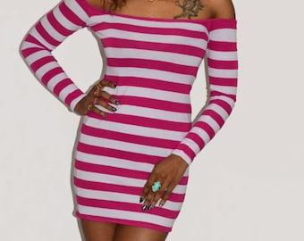 Striped bardot dress Off the shoulder Pink striped dress Stripe bodycon dress Pink white dress Off shoulder dress Long sleeve dress