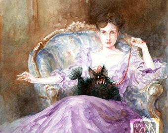 Fluffy (print) - woman, pet, animal, dog, monster, beauty and the beast, artwork, funny, illustration