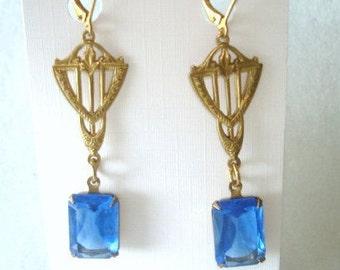 Blue Stone Dangle  Earrings