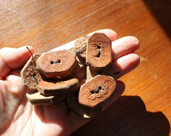 Tooled Leather Sewing Buttons Set of 10 by Plantdreaming
