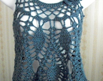 Corset Tie Crochet Blue Pineapple Top, Women/Teens by AngelAndFairyDesigns on Etsy.com