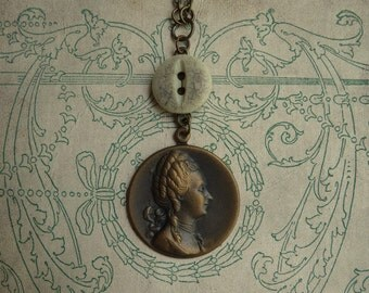 Antoinette - Antique Button and Brass Cameo Necklace