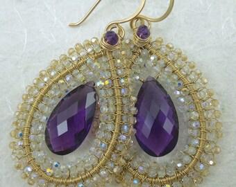 Purple Amethyst, Swarovski crystal