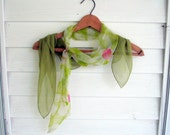 Two Chiffon Scarves, Chiffon Scarves, Green, Accessory, Vintage, by mailordervintage on etsy