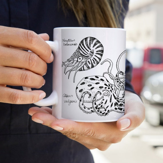 Cephalopod Mug with Nautilus, Octopus and Squid | Steampunk | Naturalist | Science | Marine | Ink Sketch