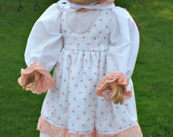 Orange and white prairie dress with bonnet fits American girl doll
