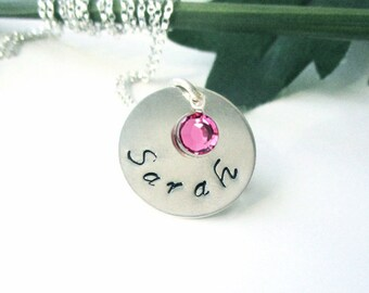 Personalized Graduation Necklace,Custom Hand Stamped Personalized Gift,Birthstone Necklace,Gift Ideas For Her,Graduation High School College