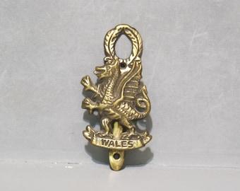 Vintage Wales Dragon Brass Door Knocker / Celtic Decorative Front Door Figural Doorknocker Aged Metal Welsh Metalwork Rare Collector Item