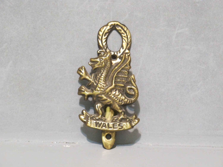 Vintage Wales Dragon Brass Door Knocker Celtic Decorative