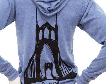 St. Johns Bridge Portland| Full zip Lightweight hoodie| Soft| Art by MATLEY| Hometown tees| Gothic| Architecture| Destination| Travel tees.