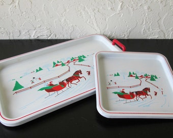 Himark Horse and Sleigh Set of Two Christmas Kitsch Vintage Plastic Holiday Rectangle and Square Serving Trays Japan