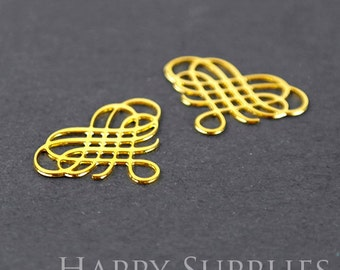 Exclusive -20% off 2pcs 24K Golden Plated Knot Brass Charm / Pendant, Fit For Necklace, Earring, Brooch (GD019)