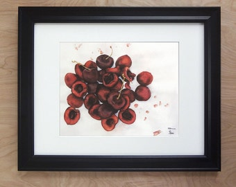 cherry art print, red cherries watercolor, kitchen decor, red and white wall art, fruit still life painting